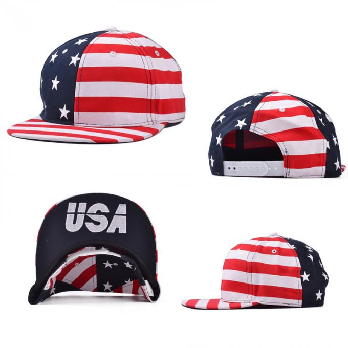 dcbed3b653 Anti - Wrinkle Black Cotton Snapback Baseball Caps 3D Logo USA Flag ...