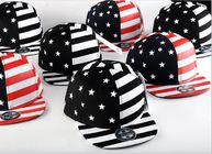 China Painting USA Flag Cool Snapback Hats For Men , Structured Blank Logo Boys Snapback Hats factory