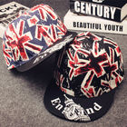 Blank England Flag Snapback Baseball Caps Printed Label / Plastic Closure Available