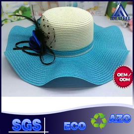 Unisex Summer Straw Beach Hat With Nylon Strip Ribbon / Mesh Inside Fabric
