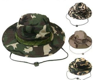 Men's Camo Cotton Bucket Hat For Outdoor Training Buckle Strips Available