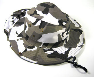 Black / White 100% Cotton Bucket Hat With Nylon Strings / Printed Embroidered Patterns