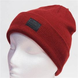Spandex Wool Crochet Knit Pom Pom Beanie With Embroidery Triangle Leather Logo