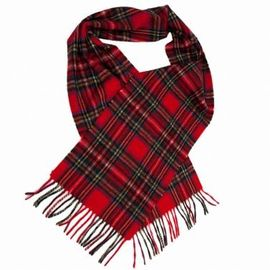 Checked Crochet Red Winter Knitted Scarf For Keeping Warm Wool / Acrylic Available