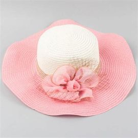 Embellished Wavy Edge Straw Beach Hat Chic Flower Shape And Mesh Founded