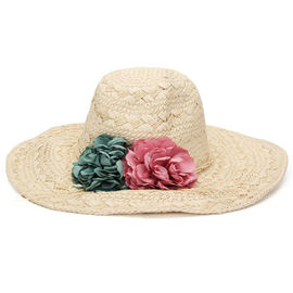 Flower Elegant Floppy Straw Beach Hat Woven Tree Patterns Available