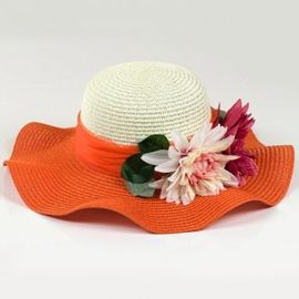 Mixed Color Wide Brim Straw Beach Hat For Summer Nylon Floral Strips Available