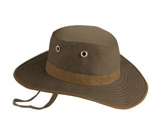Broad Brimmed Waxed Cotton Hat , Leather Belt Poly String Tan Mens Summer Brim Hats